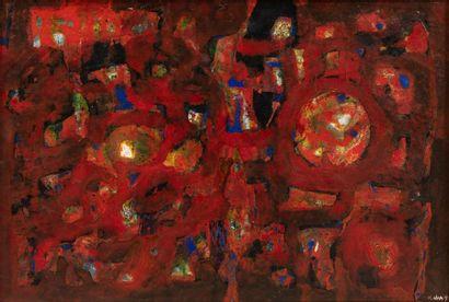 Kwan NAM (1911-1990) Composition en rouge,...