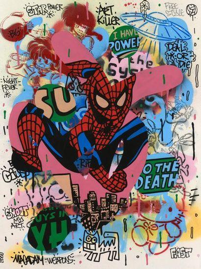 SPEEDY GRAPHITO (né en 1961) Spiderman,...