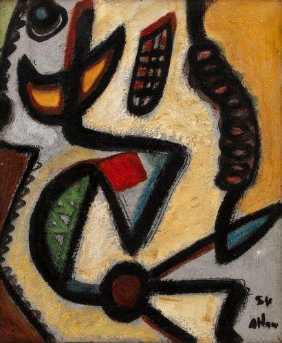 Jean-Michel ATLAN (1913-1960) Composition, 1954 Huile sur panneau signé et daté...