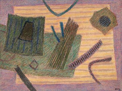 Henri GOETZ (1909-1989) Composition, circa 1980 Pastel sec sur toile signée en bas...