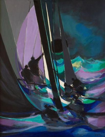Marcel MOULY (1918 - 2008) Les Yachtmen de la Nuit, 1988 Acrylique sur toile signée...