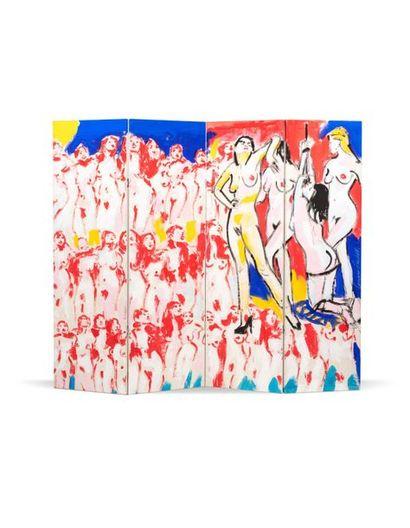 Luciano CASTELLI (né en 1951) Sans titre, 1982 Acrylique sur toile, quadriptyque...