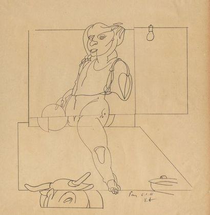 Valerio ADAMI (né en 1935) Sans titre, 1966 Crayon sur papier monogrammé et daté...