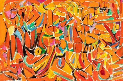 André LANSKOY (1902-1976) Composition orange, 1975 Huile sur toile signée en bas...