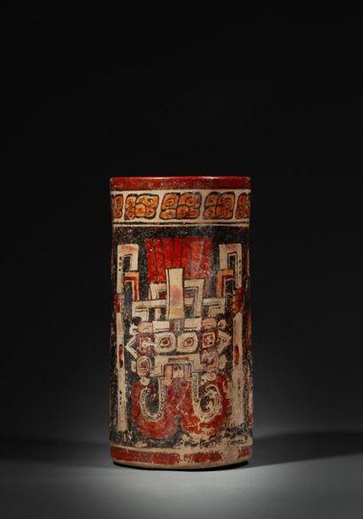 Important vase cylindre peint sur les parois...