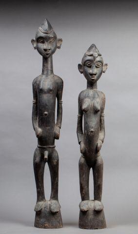 Paire de statuettes masculin/féminin ils...