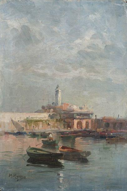 Marius REYNAUD (1860 - 1935)  Le port d'Alger,...