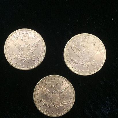 3 pièces de 10 $ or type Liberty 1893 (x2) - 1894