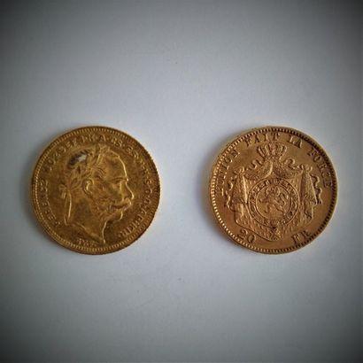 6 pièces en or 20 F Belge