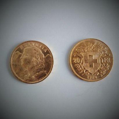 40 pièces de 20F Suisse en or  Ce lot est vendu sur désignation.