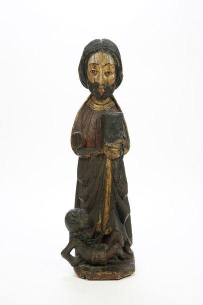 Sculpture en bois polychrome de Saint-Bartholomé...
