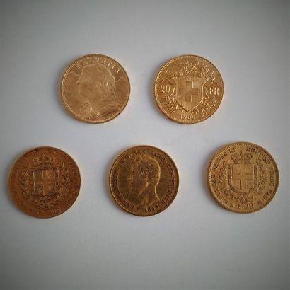 36 pièces de 20F Suisse en or  Ce lot est...