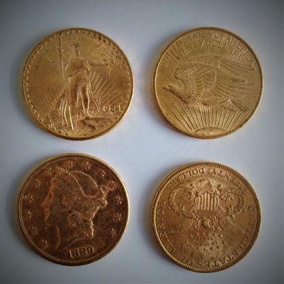10 pièces de 20 dollars en or  Ce lot est...