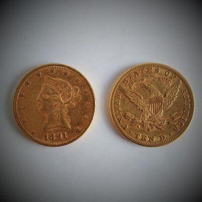 9 pièces de 10 dollars en or  Ce lot est...