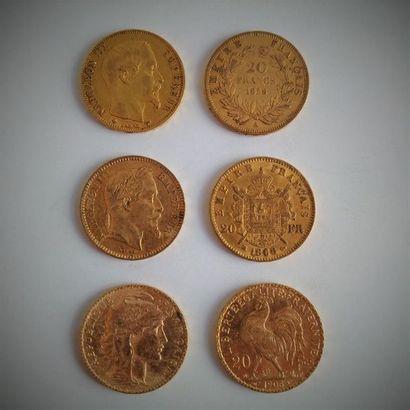 40 pièces de 20F or  Ce lot est vendu sur désignation