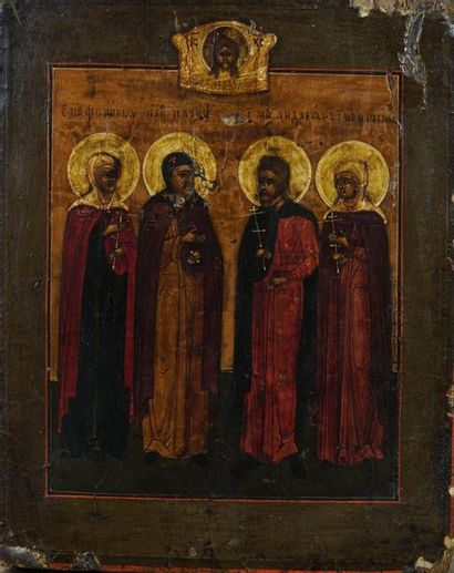 Icône figurant quatre saints dont Saint Adrien de Iaroslav et Saint Parasceve surmontés...