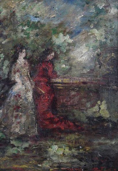 Attribué à Adolphe MONTICELLI (1824-1886)  Femmes dans un paysage  Huile sur panneau...
