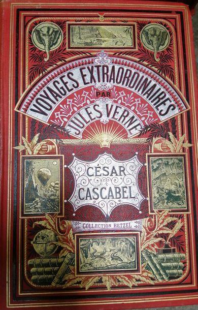 VERNE (Jules). César Cascabel Paris, Hetzel, 1890. Cartonnage aux deux éléphants...