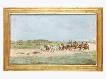 Charles PELLEGRIN (fin XIXème) Scène de chasse...