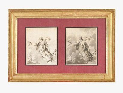 Louis XVI Encadrement contenant deux estampes...