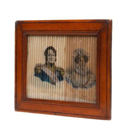 Diorama représentant quatre portraits lithographiés...