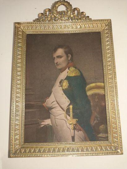 Napoléon Ier Lithographie rehaussée à l'aquarelle...