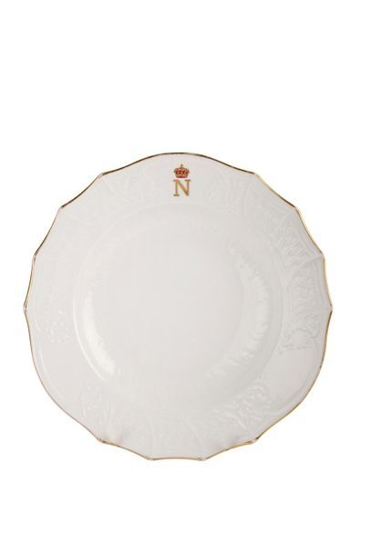 Assiette à soupe en porcelaine à bords contournés...
