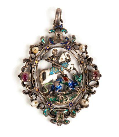 Médaillon pectoral pendentif en vermeil (800...