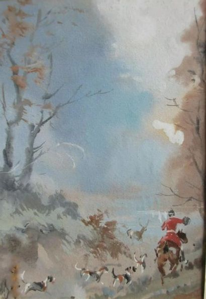 Baron Karl REILLE (1886-1975) Scène de chasse...