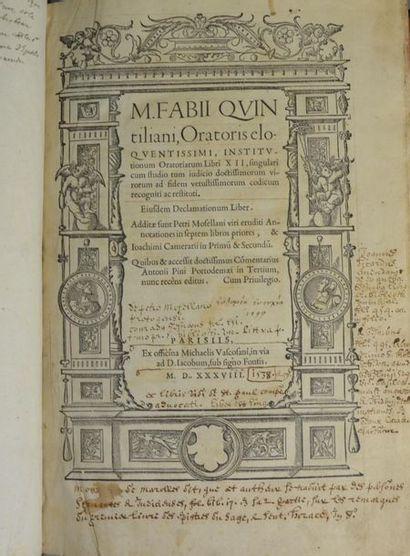 QUINTILIEN. M. Fabii Quintiliani, Oratoris...