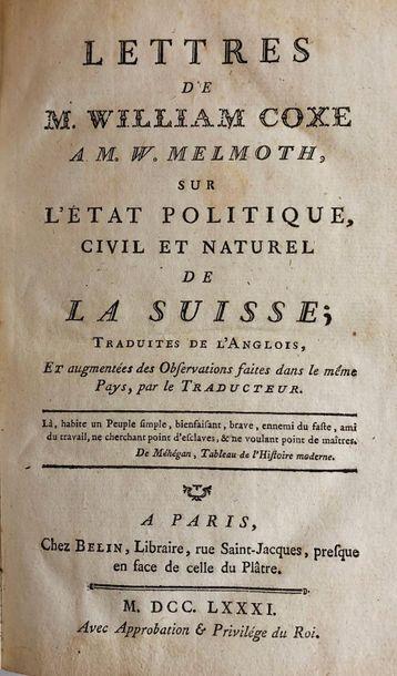 *Suisse - MAYER (Charles Joseph de). Voyage en Suisse en 1784 ou Tableau historique,...