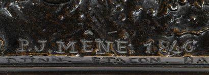 Pierre-Jules MÈNE (1810-1879) Djinn étalon arabe Bronze à patine brune signé sur...