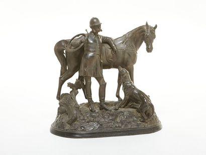 Ecole Française du XIXème Veneur, cheval...