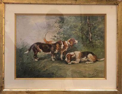 René VALETTE (1874-1956) Relais de chiens...