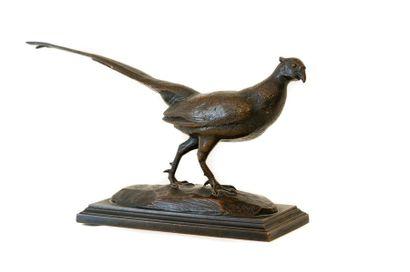 Alfred BARYE (1795-1875) Faisan Bronze à...
