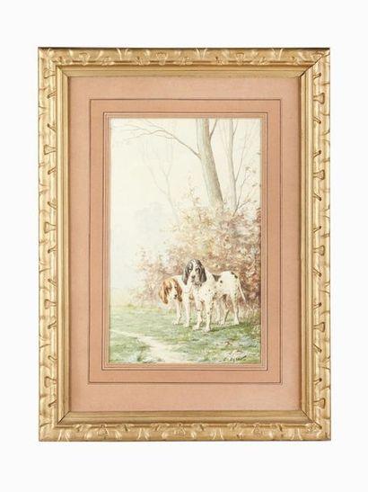 Louis DAREY (1863-1914) Relais de chiens...