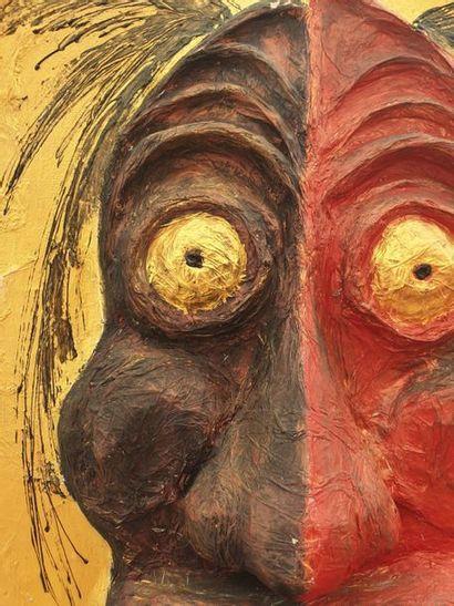 TETE HUMAINE TETE HUMAINE  Homme au visage bicolore. Fibres végétales polychromes...
