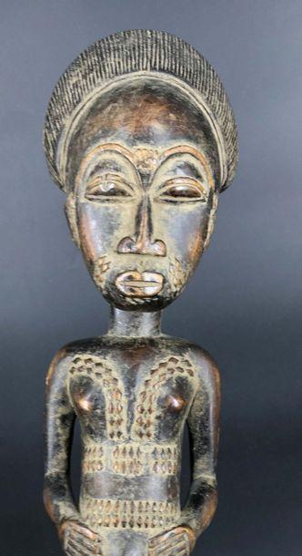 """BAOULÉ, Côte d Ivoire BAOULE, Côte d Ivoire  Statuette """"Blolo Bla""""en bois dur et..."""