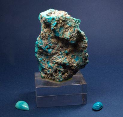 Bloc de TURQUOISE soclé (9 cm) avec deux...