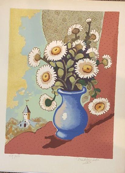 LUKA Madeleine (1894-1989)  Eglise et margurites...