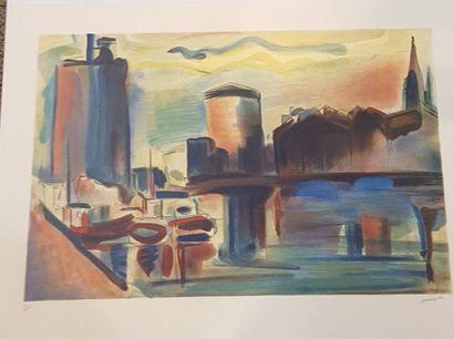 MARZELLE Jean 1916-2005  Le port de la Rochelle...