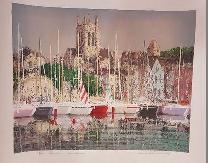 SHIMADA Saburo (né en 1943)  le port  Lithographie,...