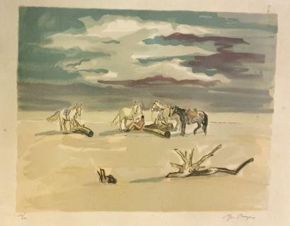 BRAYER Yves (1907-1990)  Plage camarguaise...