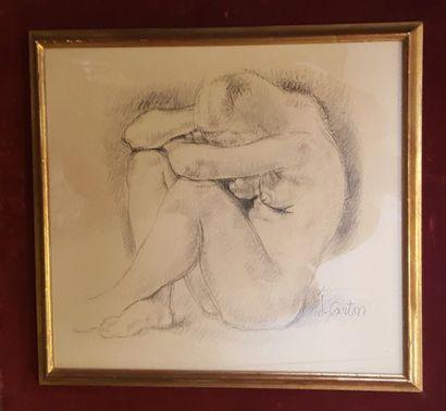 CARTON Jean (1912-1988)  Etude de femme accroupie...