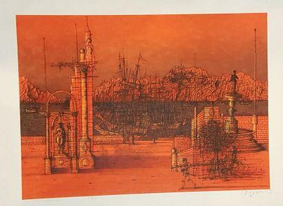 CARZOU Jean (1907-2000)  L'Armada, 1983  Lithographie,...