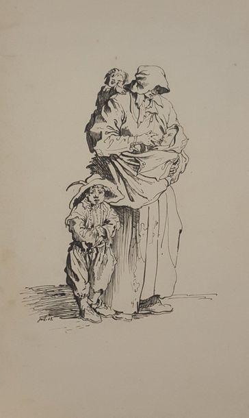 ECOLE XIXeme [VOIART Elisabeth ?]  Mendiante...