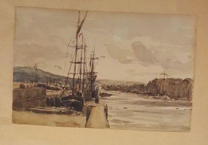 ECOLE XIXeme siècle  Bateaux au port  Aquarelle...