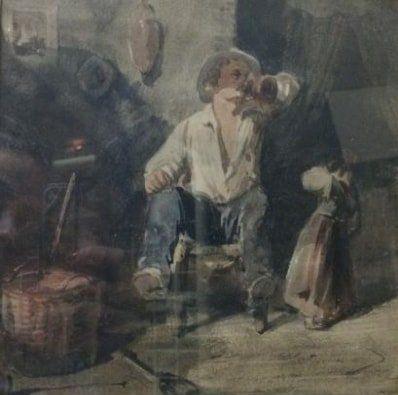 ECOLE XIXème siècle  Le buveur  Encre et...