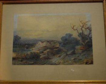 ECOLE XIXème siècle  Paysage au rocher  aquarelle...