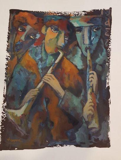 FAUVE (né en 1955)  Jazz  Peinture sur papier...